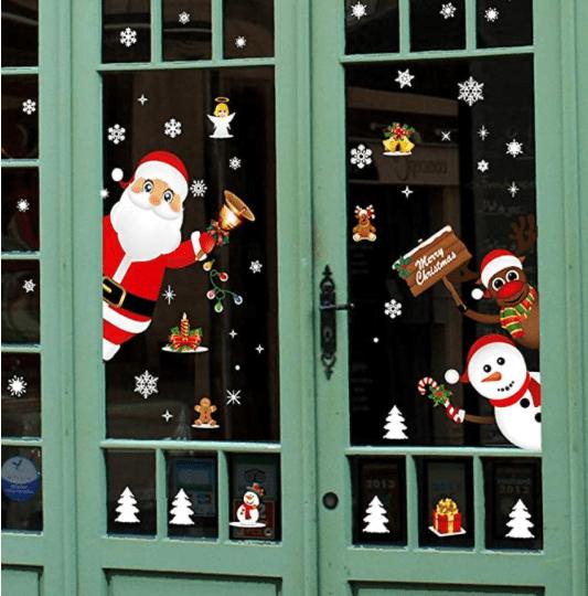Snowman Reindeer Snowflake Window Clings