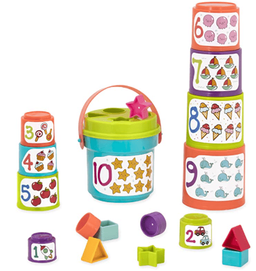 Battat - Sort & Stack - Educational Stacking Cups Baby Toys