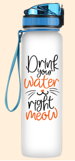 Coolife 32oz 1 Liter Motivational Tracking Cat Lover Water Bottle